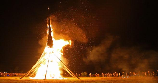 向田の火祭会場